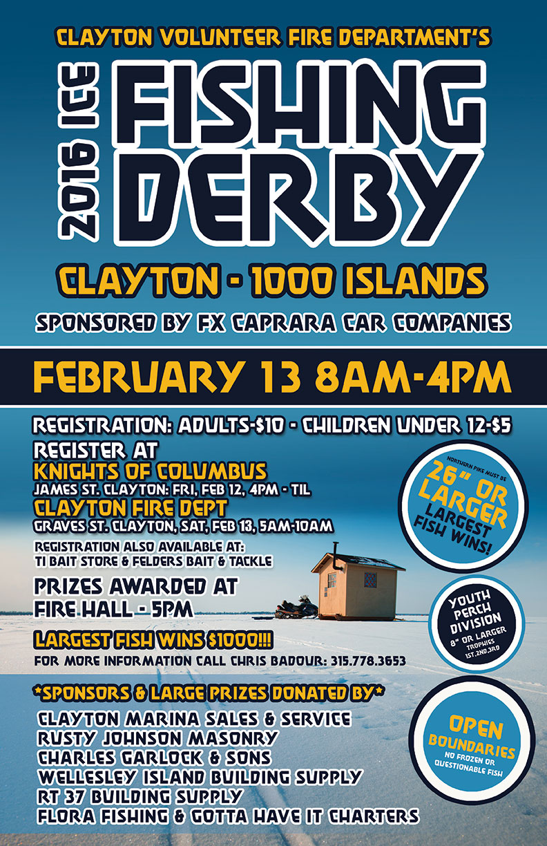 Clayton s ice fishing derby thousand islands visit for Ice fishing derby